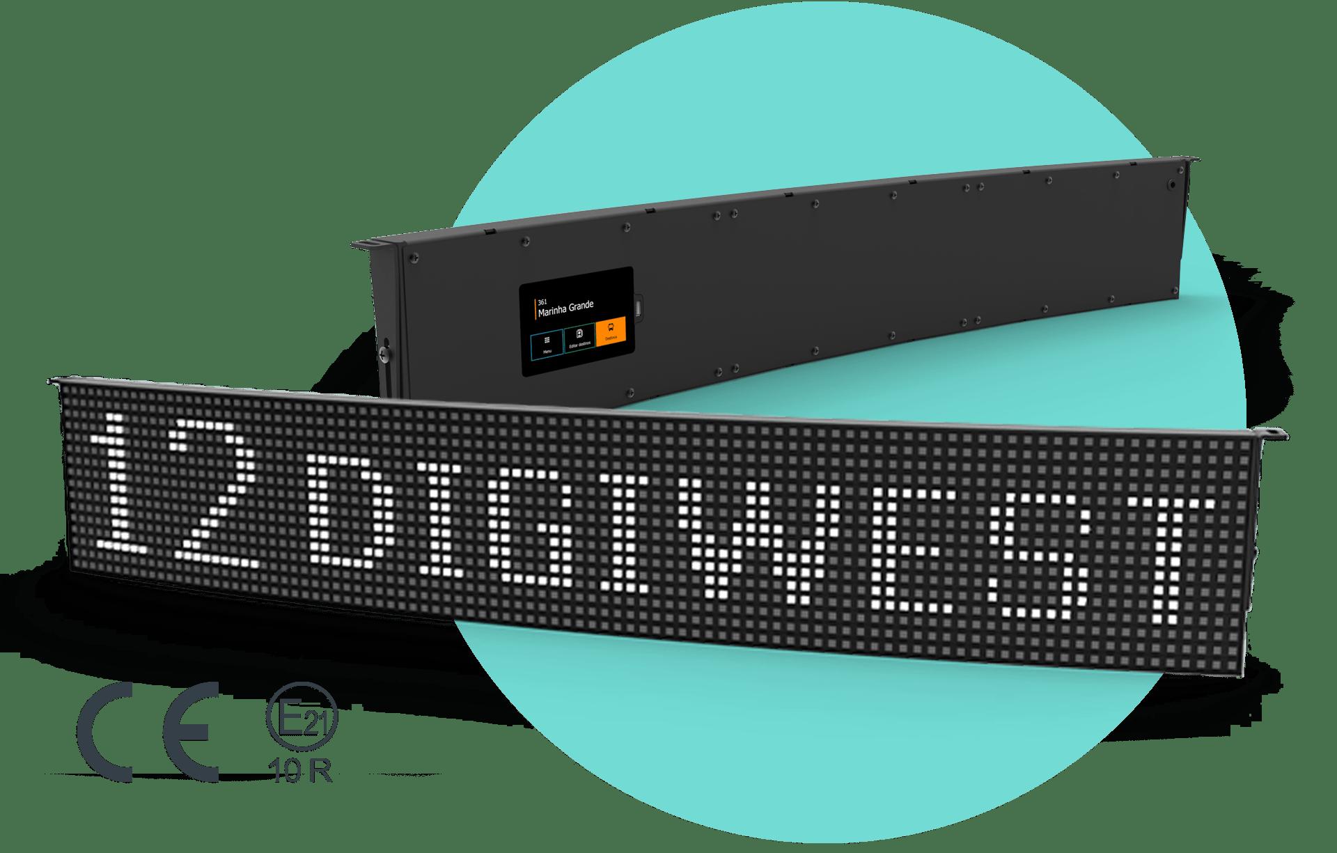 Indicadores de destino a LED com consola tátil